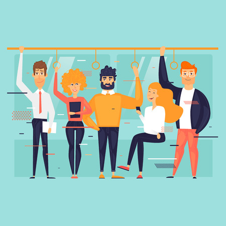 Public transport, people ride the subway, bus, train. Flat design vector illustration.