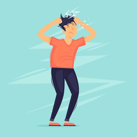 Man has a headache, migraine, health. Flat design vector illustration. Çizim