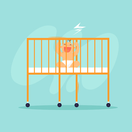 Baby is sitting in the crib. Newborn. Flat design vector illustration. Vectores