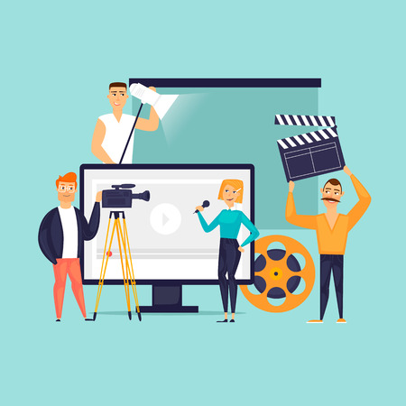 Video filming Flat design vector illustration.