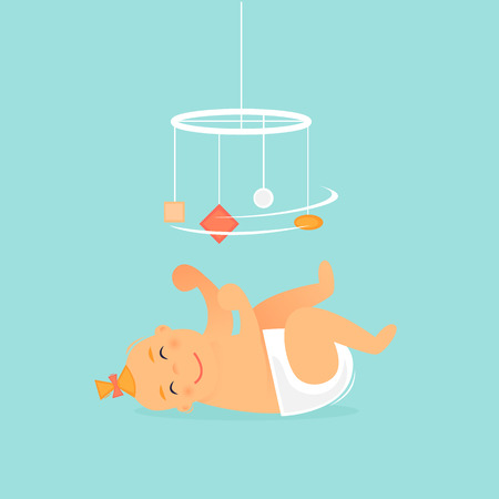 Baby lies and plays. Newborn. Flat design vector illustration. 向量圖像