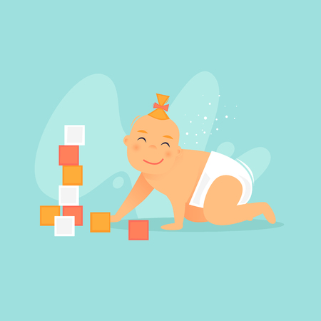 Child plays with cubes. Newborn. Flat design vector illustration.