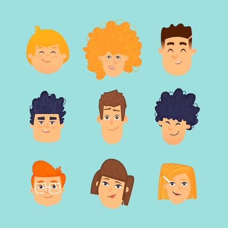 Avatars of children, childrens faces, portrait. Flat design vector illustration. Çizim