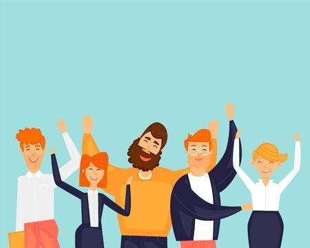 Happy people. Success team. Friendship. Flat design vector illustration. Illusztráció