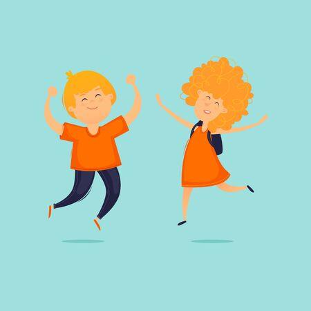 Children jump for joy. Flat design vector illustration. Çizim