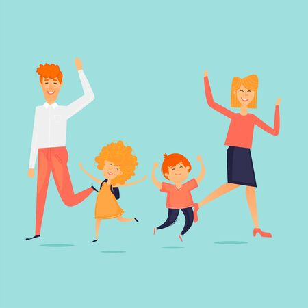 Family jumps for joy, adults and children, dad and mom. Flat design vector illustration. Illusztráció