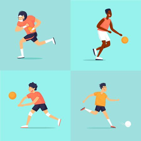 Sport. Rugby, basketball, football, volleyball. Flat design vector illustration. Ilustracja