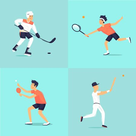 Sport. Hockey, tennis, tennis table, baseball. Flat design vector illustration. Çizim
