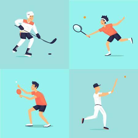 Sport. Hockey, tennis, tennis table, baseball. Flat design vector illustration. Illustration