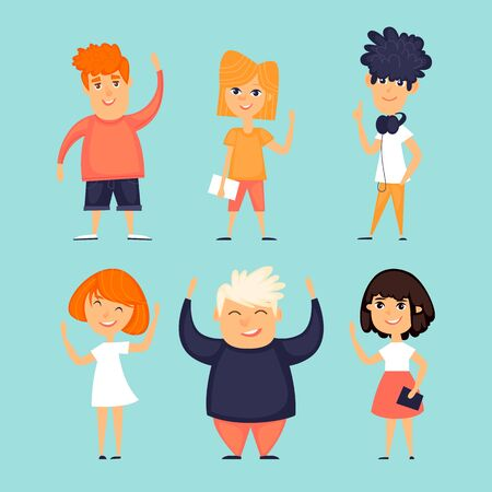 Set kids characters. Flat design vector illustration. Banque d'images - 126207898