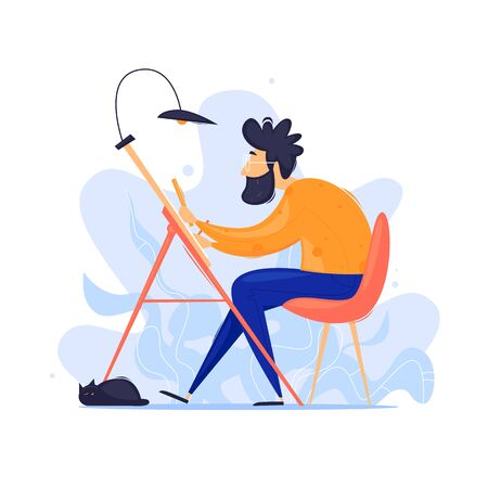 Man working on a project, working out. Flat design vector illustration.