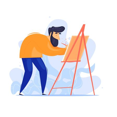 Man draws, artist, creative. Flat design vector illustration.