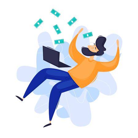 Internet business, distant work, freelance. Flat design vector illustration. Çizim