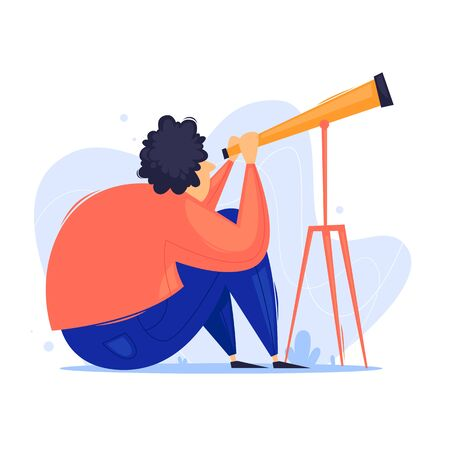 Man looks through a telescope, space. Flat design vector illustration.