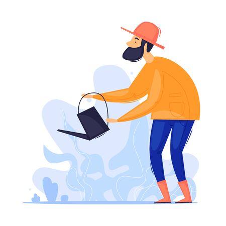 Man watering the garden. Gardener, agriculture. Flat design vector illustration. Çizim