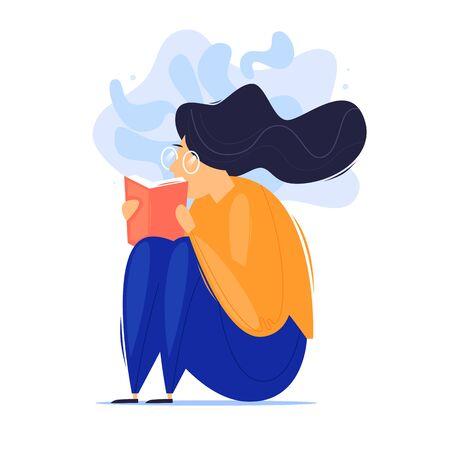Woman sits reading a book, self-education. Flat design vector illustration. Illustration
