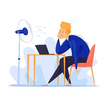 Calor en la oficina, verano, hombre sentado a la mesa sudoroso. Ilustración de vector de diseño plano. Ilustración de vector