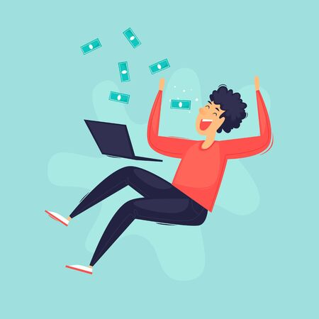Online business, a man rejoices in money. Flat design vector illustration.