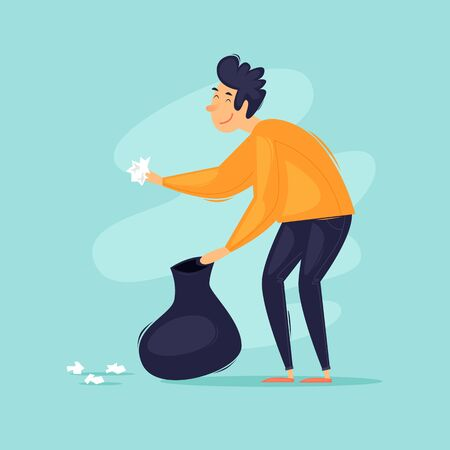 Man collects trash in a bag. Flat design vector illustration.