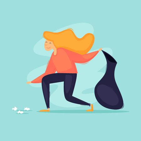 Woman collects trash in a bag. Flat design vector illustration.  イラスト・ベクター素材