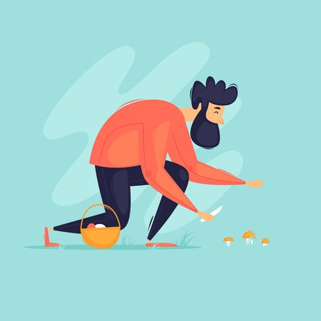 Man picks mushrooms in the forest. Flat design vector illustration.