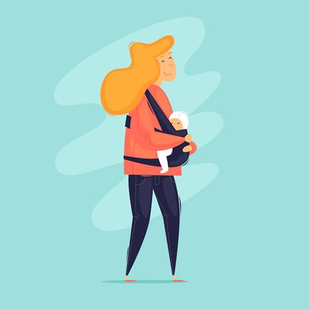 Woman carries a baby in a sling. Mama. Flat design vector illustration.