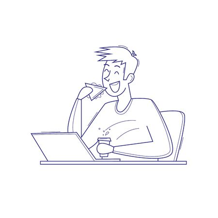 Man have in the workplace, snack. Thin line. Flat vector illustration in cartoon style. Illustration