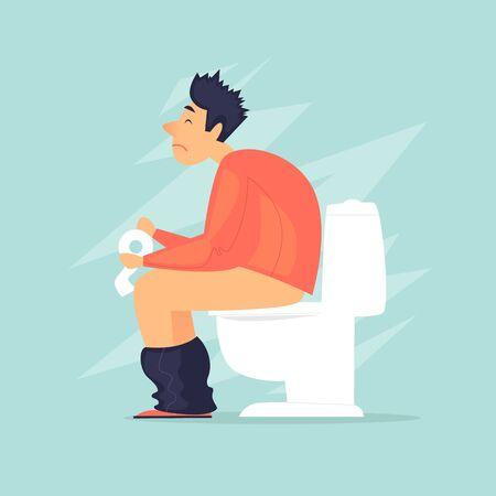 Diarrhea. A man sitting on the toilet. Flat design vector illustration