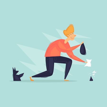 Man cleans a dog. Walking animals. Flat design vector illustration