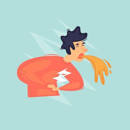 Vomiting, the man feels sick. Poisoning, health. Flat design vector illustration