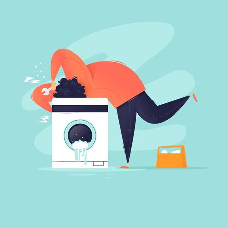 Washing machine broke. Master fixes. Flat design vector illustration.