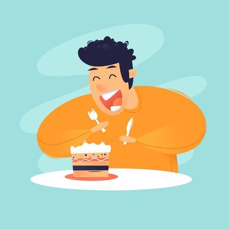 Dessert. Man eating a cake, sweet. Flat design vector illustration.