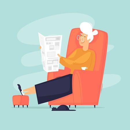 La abuela está sentada en una silla leyendo un periódico. Ilustración de vector de diseño plano.