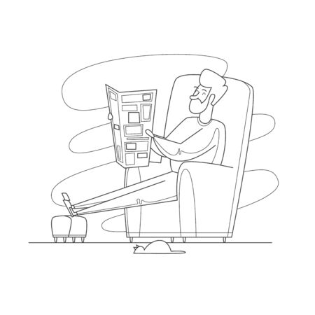 Pensioner sitting in a chair reading a newspaper. Thin line. Flat design vector illustration.
