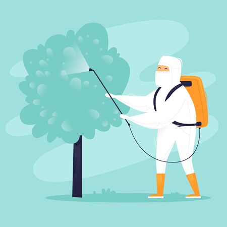 Treatment of trees from pests. Chemical treatment insects. Man in uniform with face mask spray pesticides. Flat design vector illustration.