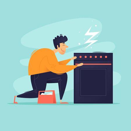 Broken gas stove, master repair. Flat design vector illustration