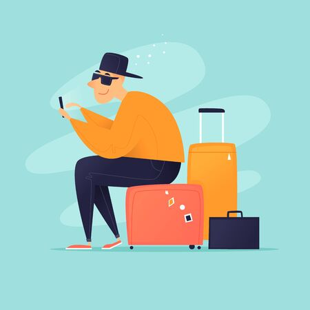 Traveling, guy sitting on the suitcases. Flat design vector illustration.