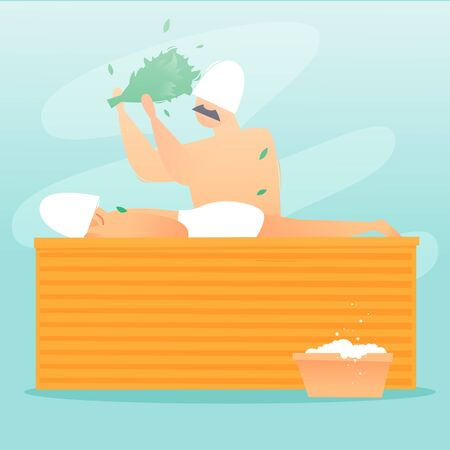 Man soars a man in a sauna. Flat design vector illustration.