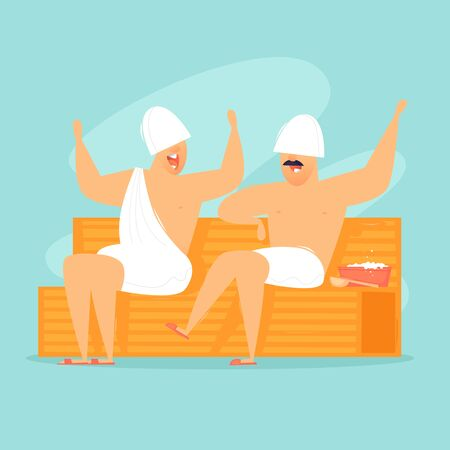 Men are sitting in a sauna. Flat design vector illustration. Imagens - 134809830