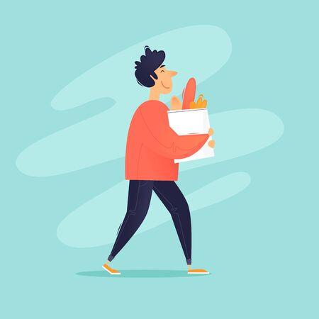 Volunteer carries a grocery bag. Flat design vector illustration.
