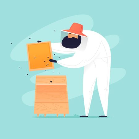 Beekeeper takes honeycomb from hive. Flat design vector illustration. 일러스트