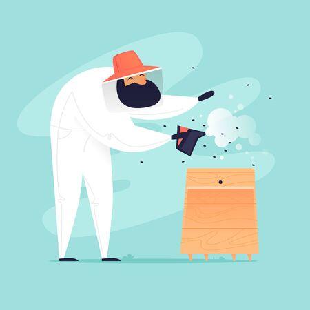 Beekeeper Smokes Bees. Flat design vector illustration. Ilustração