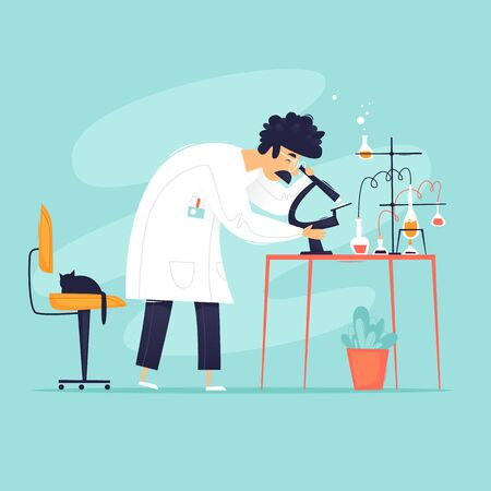 Laboratory, Scientist looks through a microscope, experiments, biology, chemistry. Flat design vector illustration.