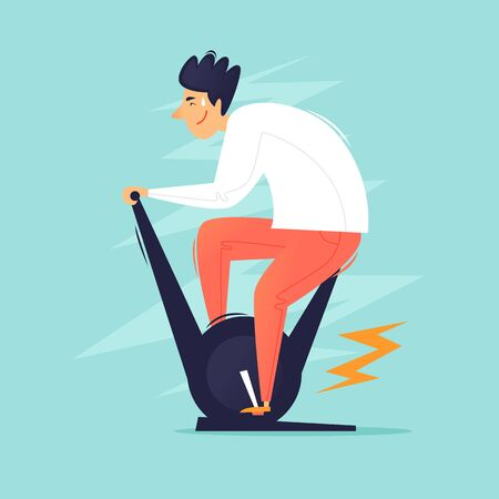 Exercise bike, man pedals, cycling. Flat design vector illustration.
