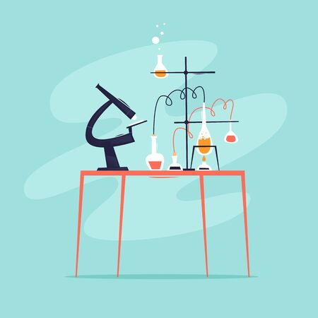 Laboratory, desktop with flasks and a microscope. Flat design vector illustration. Illustration