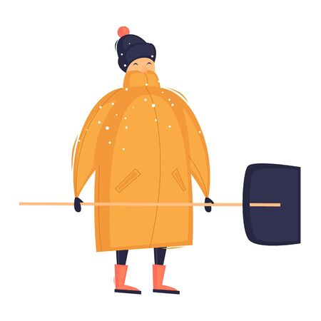Man with a shovel removes snow, winter. Flat design vector illustration.