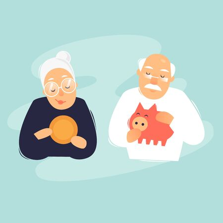 Pensioners are putting money in a piggy bank. Flat design vector illustration. Ilustracja