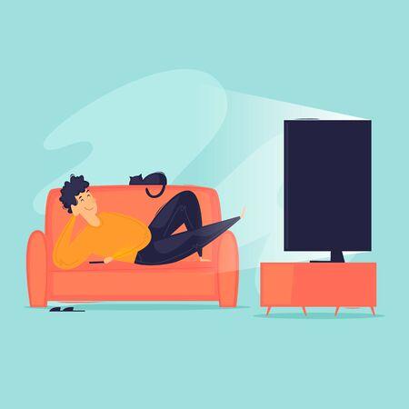 Man lies watching TV, weekend, watching TV shows, laziness.