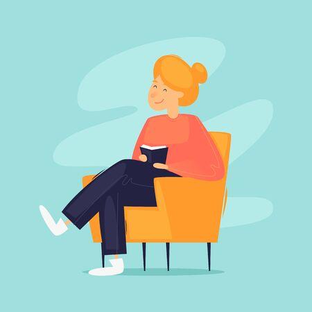 Fine settimana a casa, la ragazza legge un libro mentre è seduta su una sedia. Illustrazione vettoriale di design piatto.