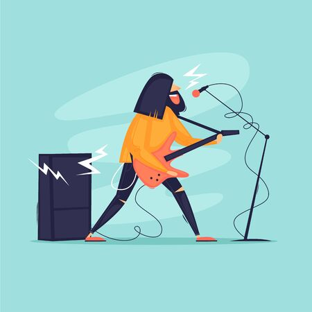 Rock music, the musician plays the guitar and sings, a concert. Flat design vector illustration.